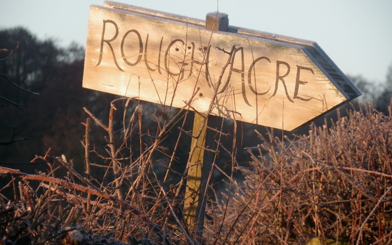 Rough Acre contact sign at the B&B and workshops in Herefordshire