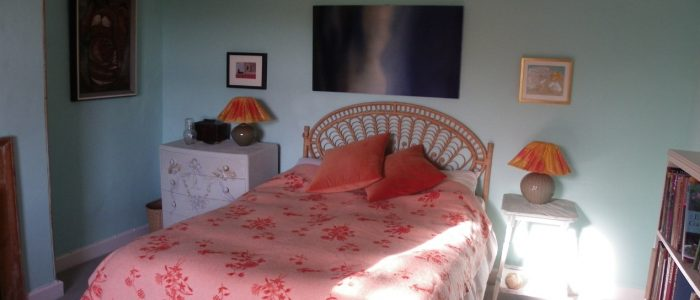 main guest bedroom at rough acre vegetarian bed and breakfast, workshops and wedding flowers in Herefordshire