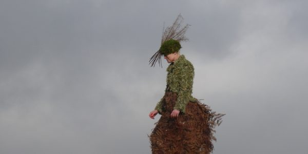 clothing made with moss and bracken by caroline ede at rough acre vegetarian bed and breakfast, workshops, weddiddng flowers and things of beauty in herefordshire