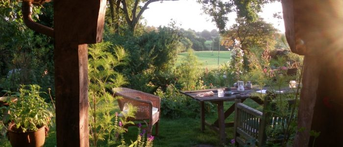 late summer evening sun at rough acre bed and breakfast in herefordshire