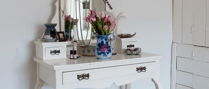 dressing table in the white bed room at rough acre vegetarian bed and breakfast workshops and wedding flowers in herefordshire by caroline ede